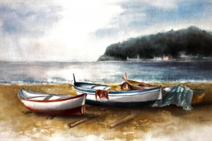 BARCHE A NOLI, acquarello - cm 32x56, 2002