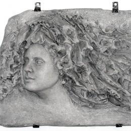 PRIMAVERA, altorilievo, creta refrattaria bianca con ossidi - cm 40x56