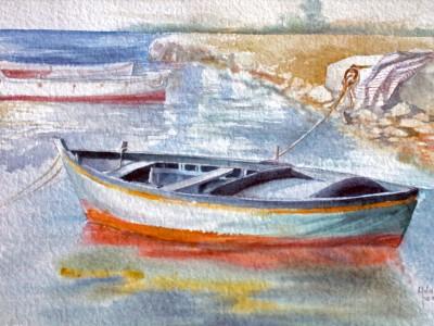 LA BARCA, acquarello - cm 31x43, 2002
